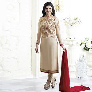 Beige Party Wear Embroidered Designer Salwar Suit