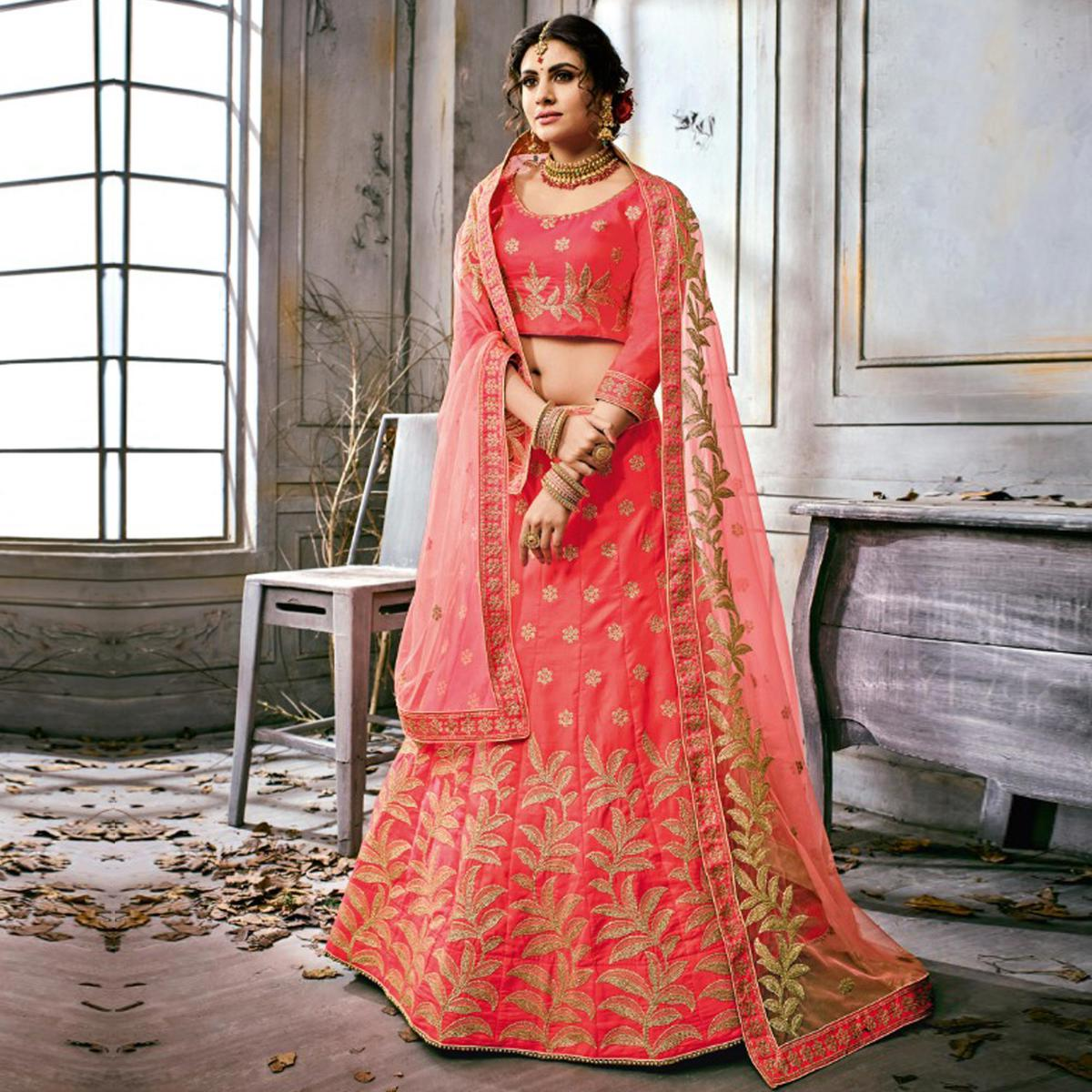 Pretty Pink Colored Partywear Embroidered Art Silk Lehenga Choli