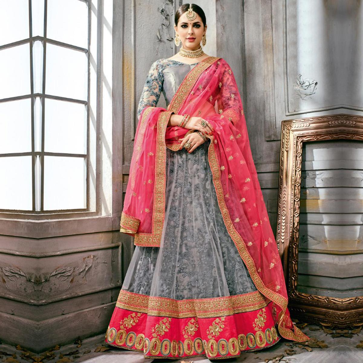 367521ebdc Buy Demanding Gray Colored Partywear Embroidered Netted Lehenga Choli For  womens online India, Best Prices, Reviews - Peachmode
