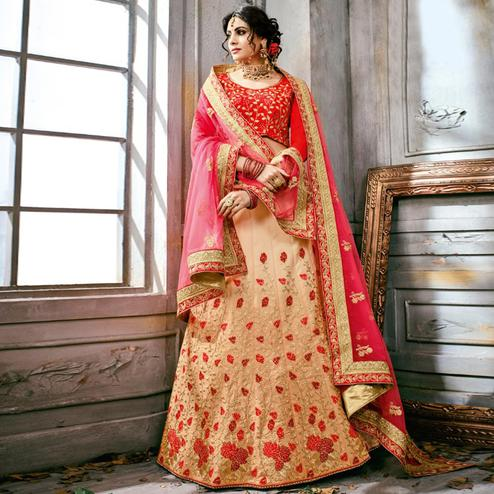 Impressive Cream-Red Colored Partywear Embroidered Art Silk Lehenga Choli