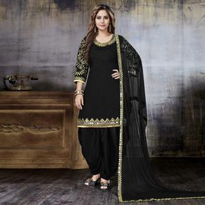 Opulent Black Colored Party Wear Embroidered Art Silk Suit