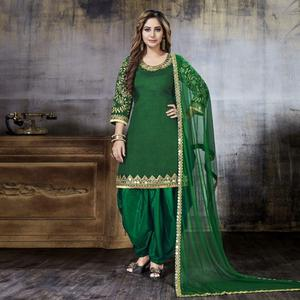 Dazzling Green Colored Party Wear Embroidered Art Silk Suit