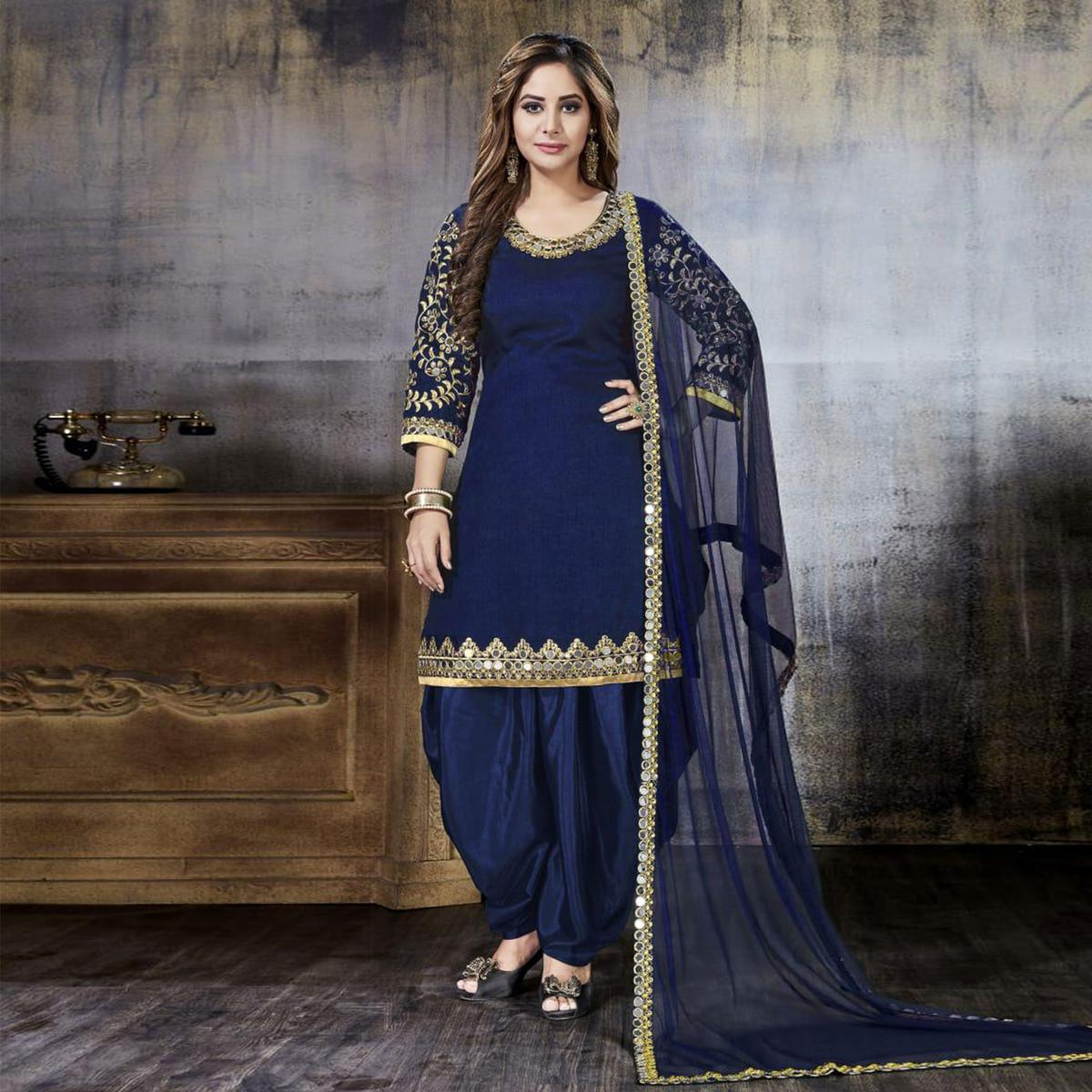 Flattering Blue Colored Party Wear Embroidered Art Silk Suit