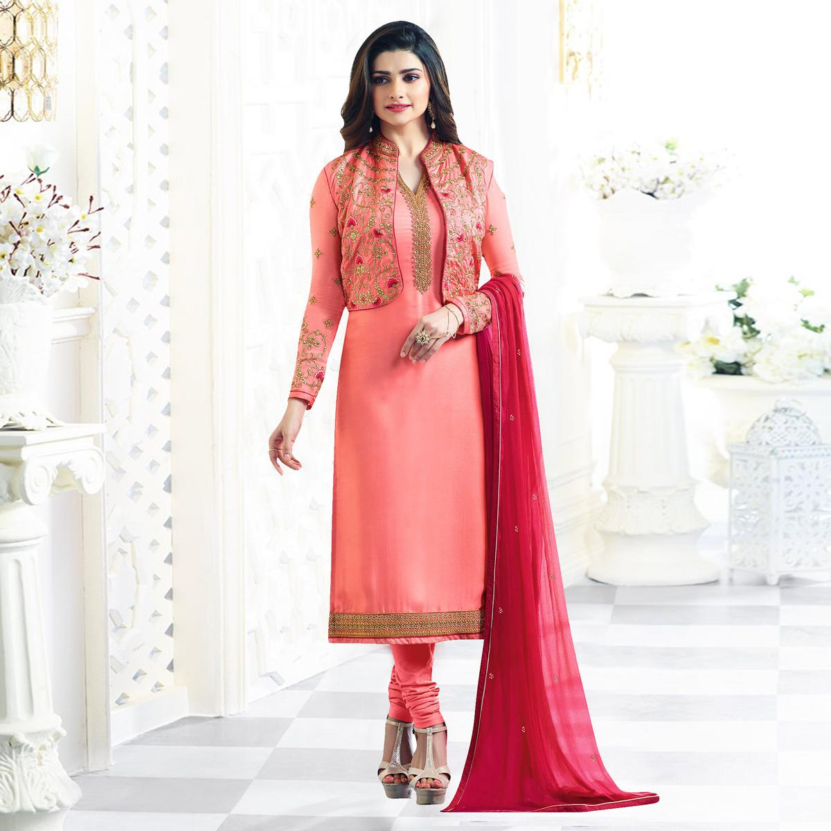 Peach Party Wear Embroidered Designer Salwar Suit