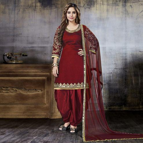 Breathtaking Maroon Colored Party Wear Embroidered Art Silk Suit