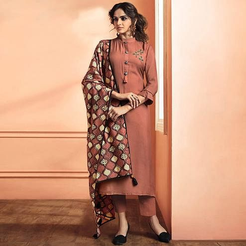 Exceptional Red Mauve Colored Party Wear Embroidered Maslin Cotton Suit