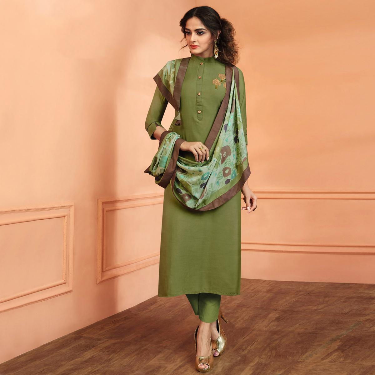 Appealing Green Colored Party Wear Embroidered Muslin Cotton Suit