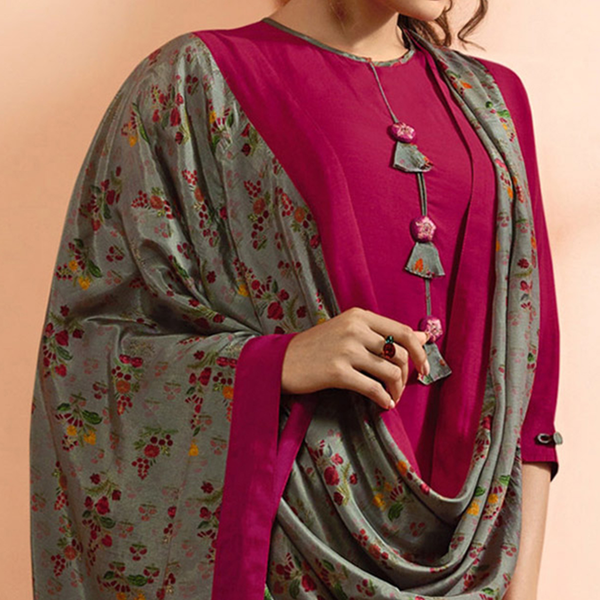 Amazing Rani Pink Colored Partywear Embroidered Muslin Cotton Suit