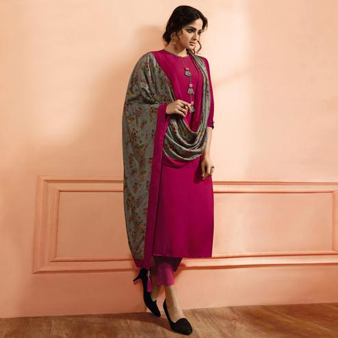 Amazing Rani Pink Colored Partywear Embroidered Maslin Cotton Suit