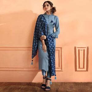 Flattering Gray Colored Partywear Embroidered Maslin Cotton Suit