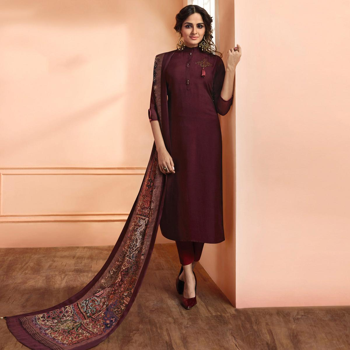 Hypnotic Dark Wine Colored Partywear Embroidered Muslin Cotton Suit