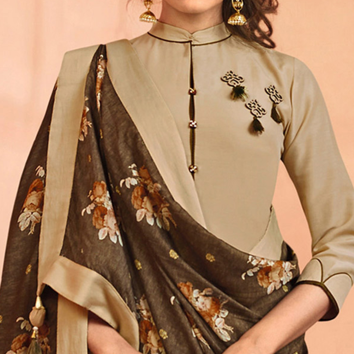 Pleasant Beige Colored Partywear Embroidered Maslin Cotton Suit