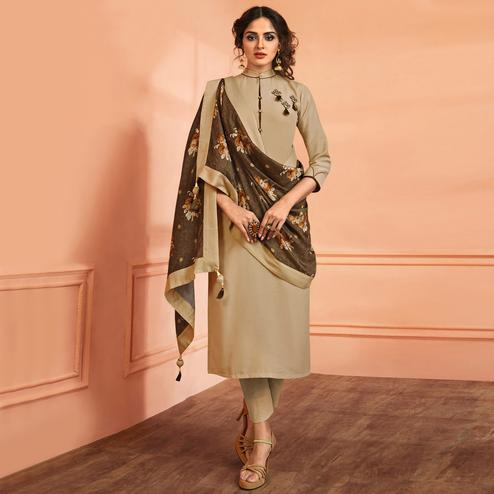 Pleasant Beige Colored Partywear Embroidered Muslin Cotton Suit