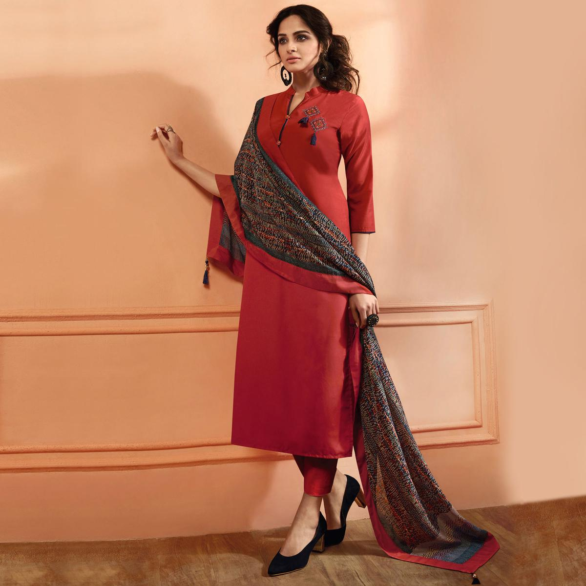 Trendy Red Colored Partywear Embroidered Muslin Cotton Suit
