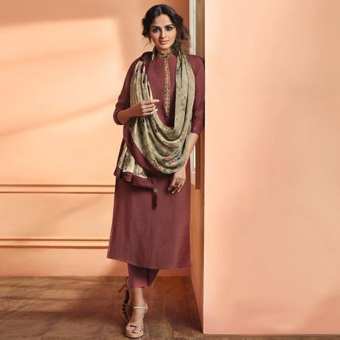 Excellent Light Wine Colored Partywear Embroidered Maslin Cotton Suit
