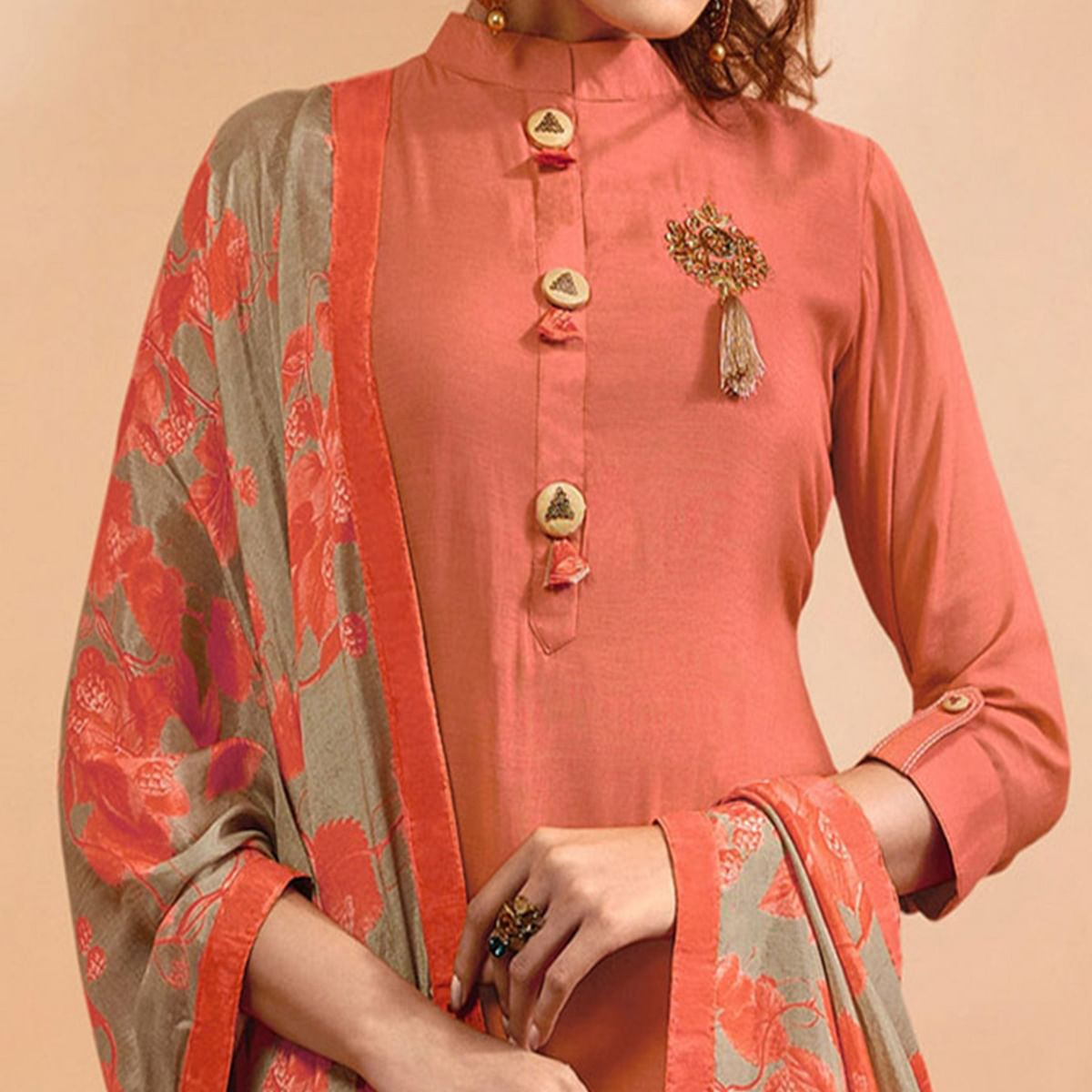 Demanding Peach Colored Partywear Embroidered Muslin Cotton Suit