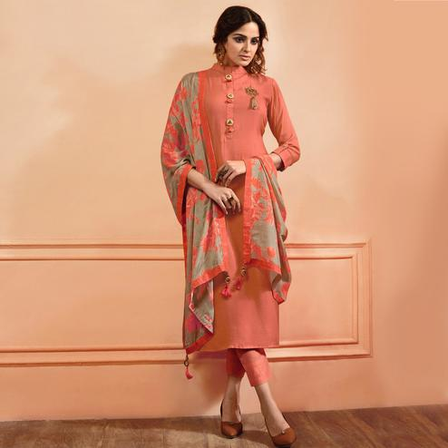 Demanding Peach Colored Partywear Embroidered Maslin Cotton Suit