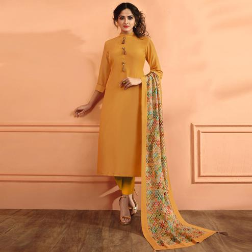 Blooming Mustard Yellow Colored Partywear Embroidered Maslin Cotton Suit