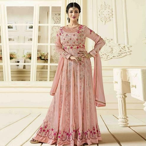 Elegant Baby Pink Colored Party Wear Embroidered Faux Georgette Anarkali Suit