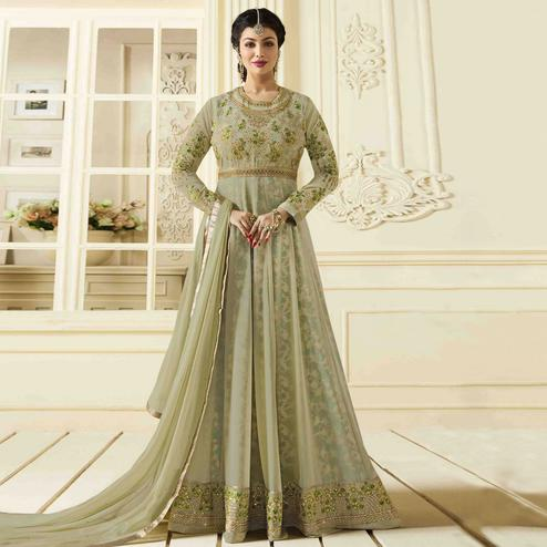 Refreshing Moss Green  Colored Party Wear Embroidered Faux Georgette Anarkali Suit