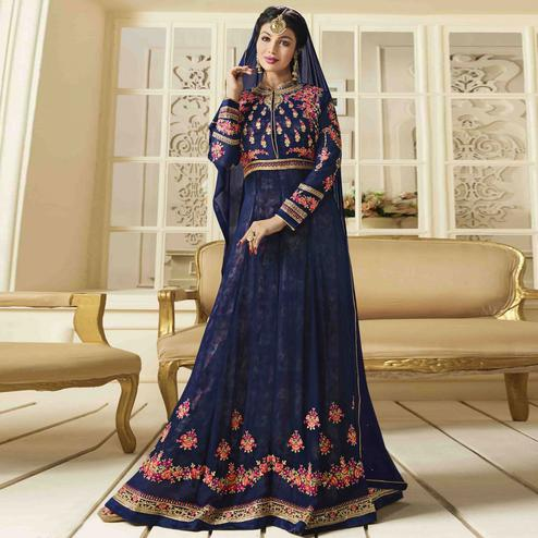 Alluring Blue - Pink Colored Party Wear Embroidered Faux Georgette Anarkali Suit