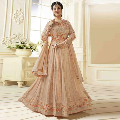 Radiant Peach Colored Party Wear Embroidered Faux Georgette Anarkali Suit