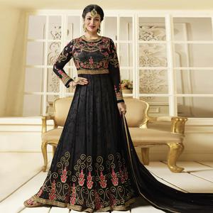 Sensational Black Colored Party Wear Embroidered Faux Georgette Anarkali Suit