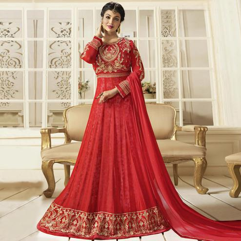 Dazzling Red Colored Party Wear Embroidered Faux Georgette Anarkali Suit