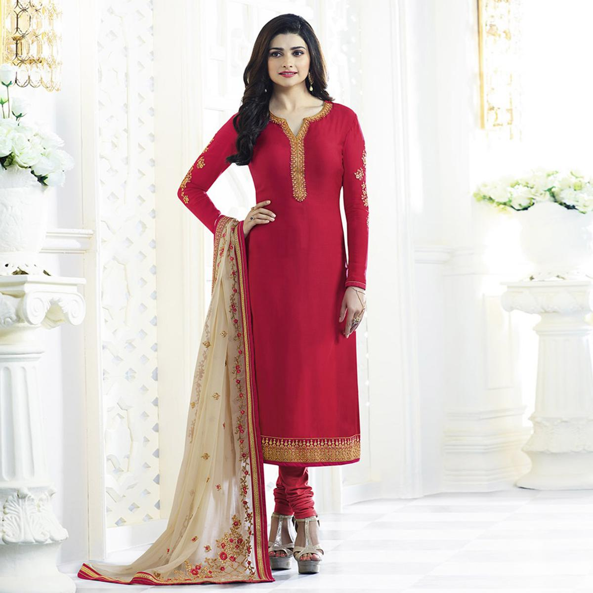 3a31a65f0cf Buy Red Party Wear Embroidered Designer Salwar Suit online India ...