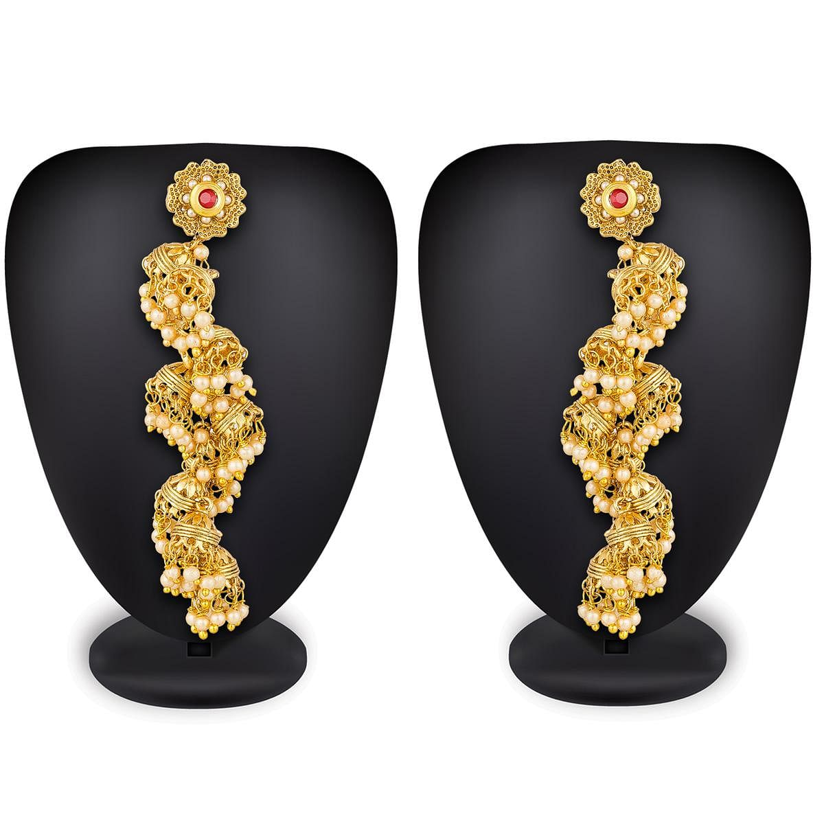 Refreshing Golden Colored Mix Metal & Stone Work Earrings Set