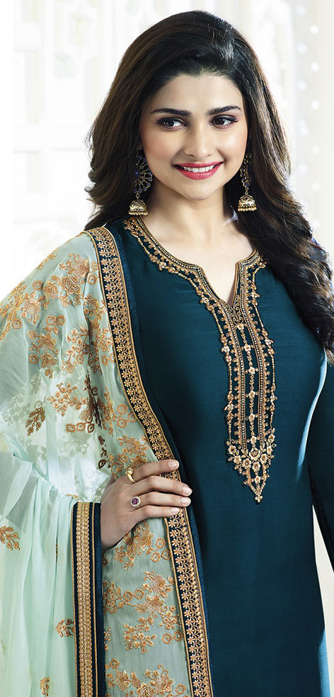 Teal Blue Party Wear Embroidered Designer Salwar Suit