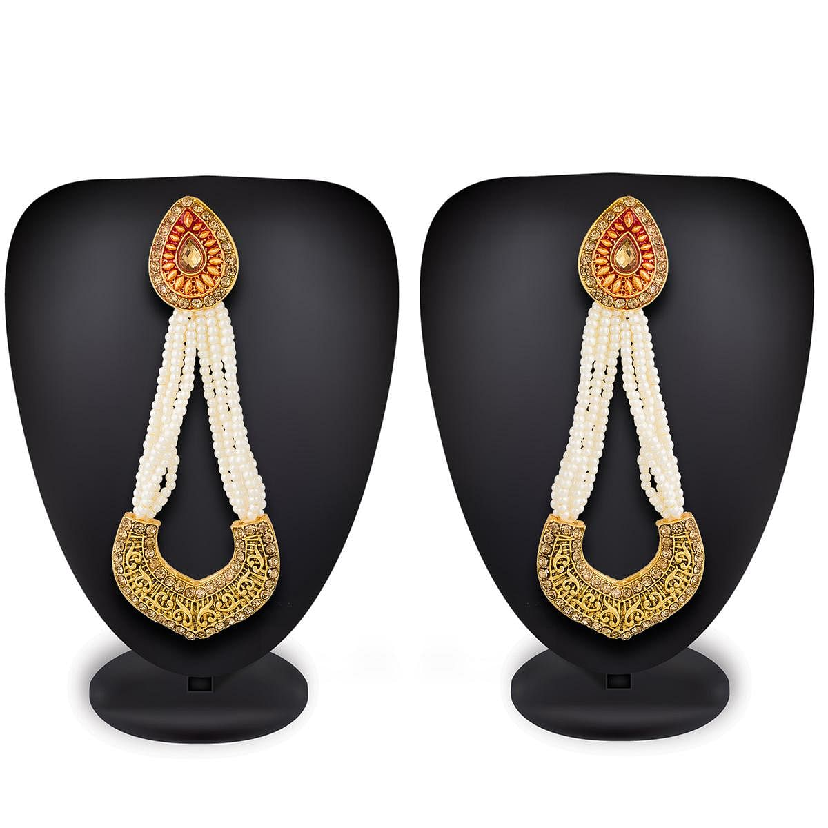 Alluring Golden Colored Mix Metal & Stone Work Earrings Set
