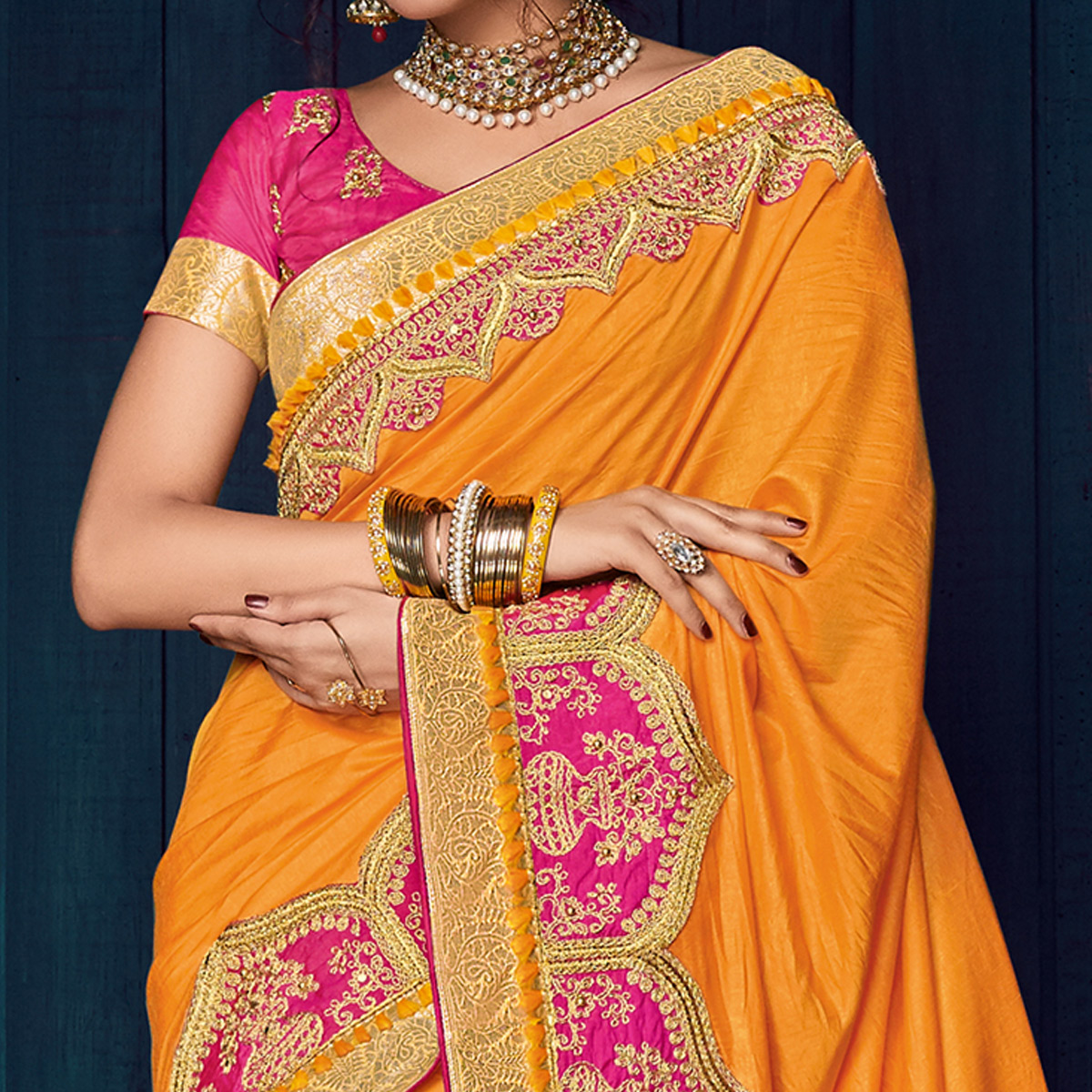 Orange Colored Party Wear Embroidered Raw Silk Saree