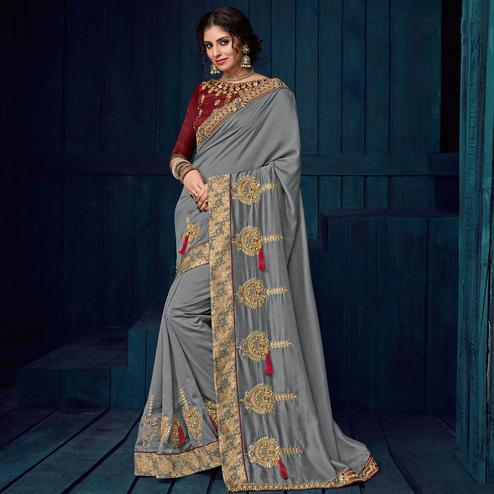 Grey Colored Party Wear Embroidered Georgette Saree