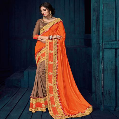Orange And Brown Colored Party Wear Embroidered Raw Silk - Silk Saree