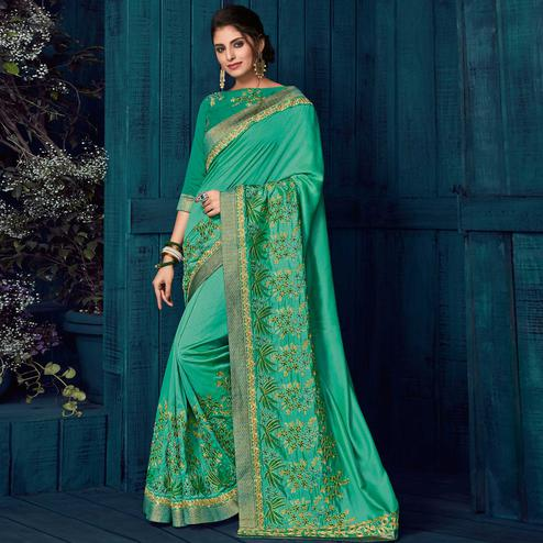 Green Colored Party Wear Embroidered Silk Saree