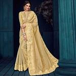 Beige Colored Party Wear Embroidered Silk Saree