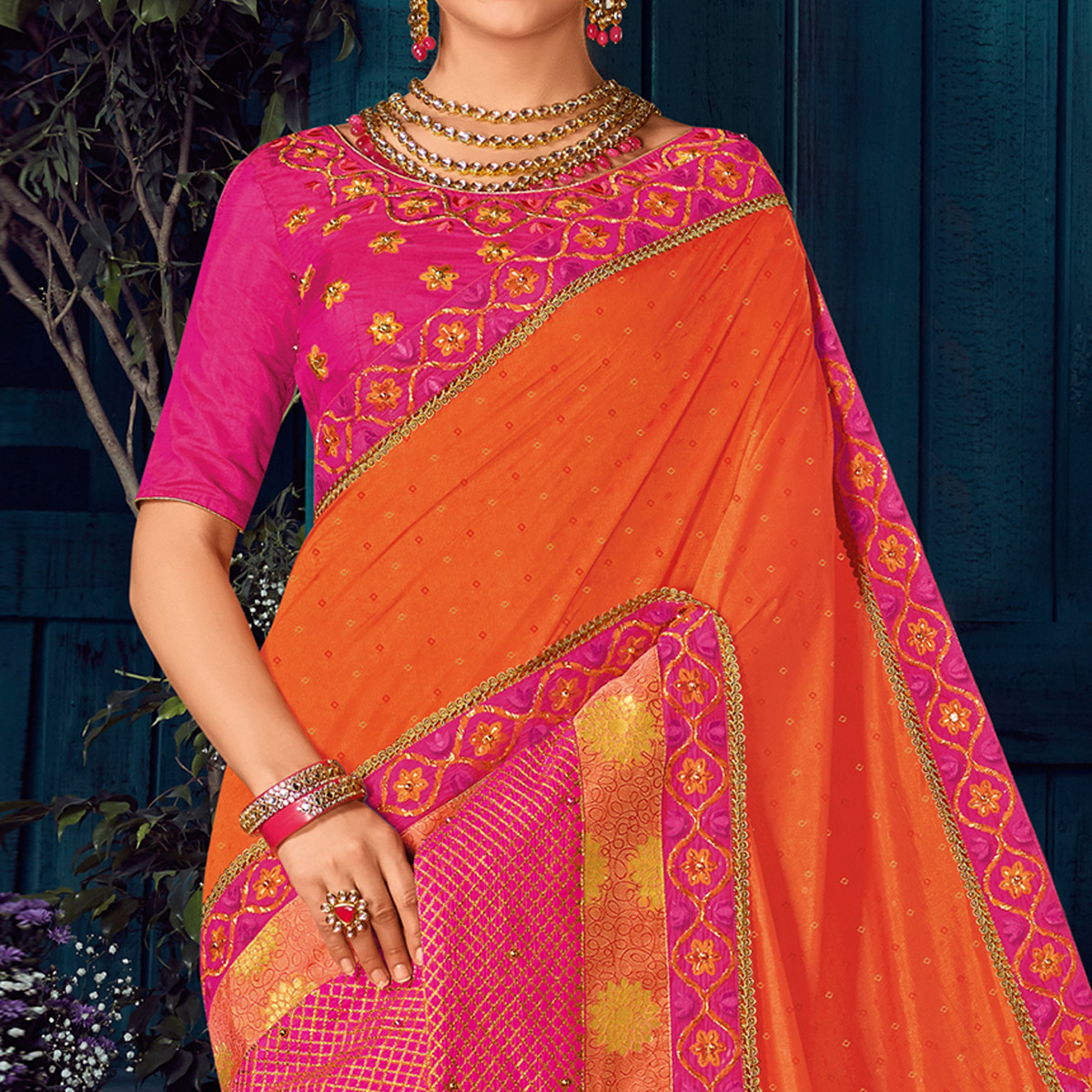 Orange And Pink Colored Party Wear Embroidered Raw Silk Saree