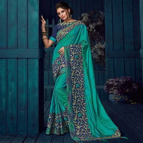 Teal Green Colored Party Wear Embroidered Paper Silk Saree