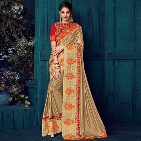 Gold Colored Party Wear Embroidered Lycra Saree