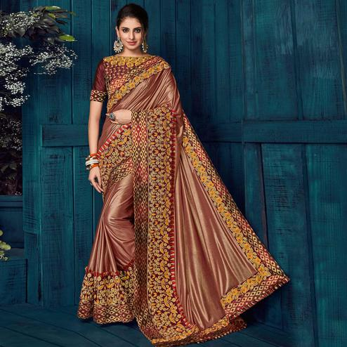 Brown Colored Party Wear Embroidered Lycra Saree