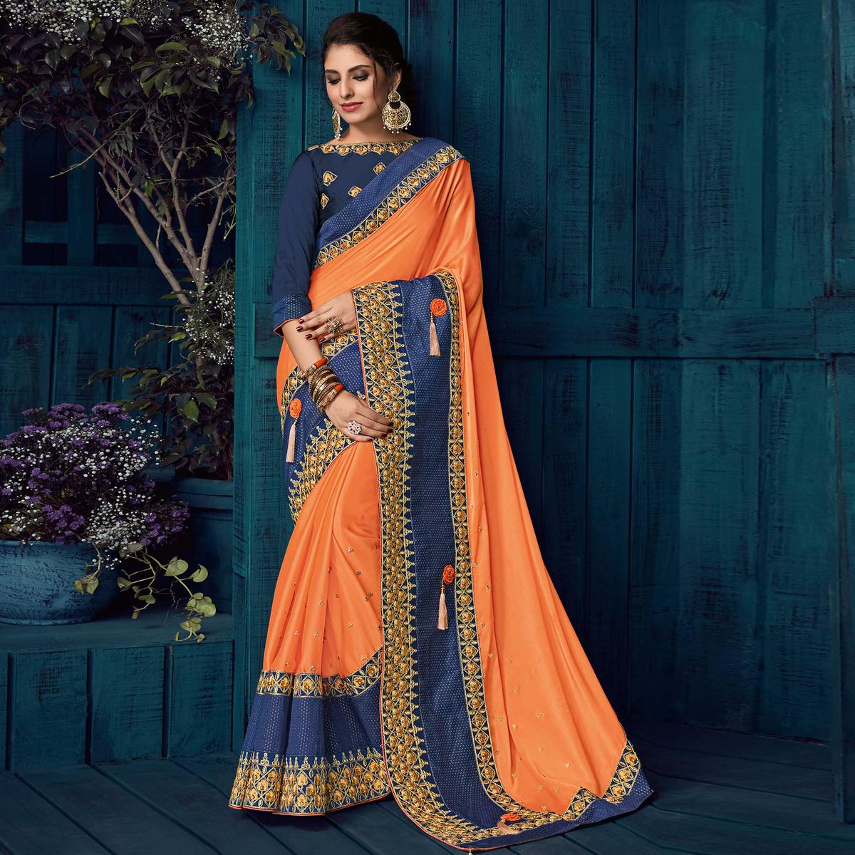 Orange Colored Party Wear Embroidered Georgette Saree