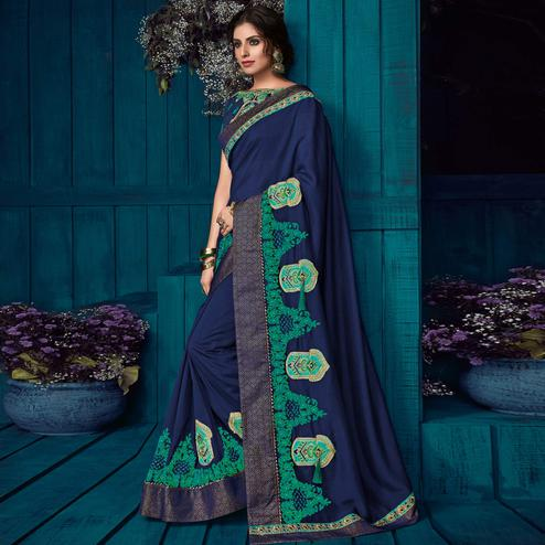 Navy Blue Colored Party Wear Embroidered Silk Saree
