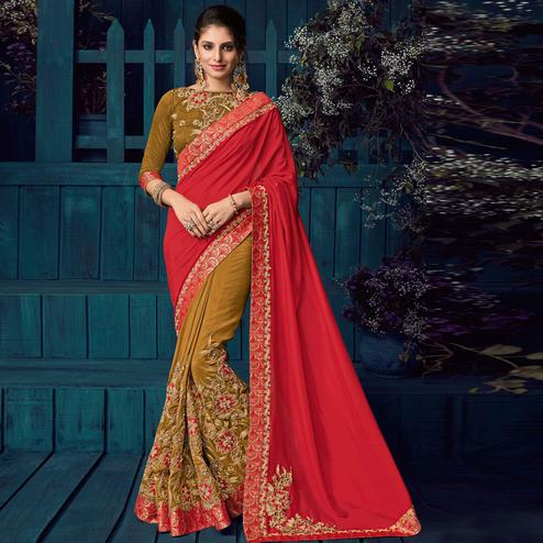 Red And Beige Colored Party Wear Embroidered Raw Silk - Silk Saree