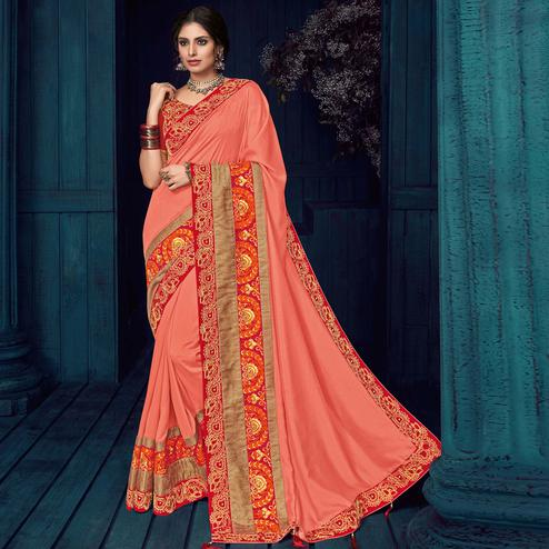 Peach Colored Party Wear Embroidered Silk Saree
