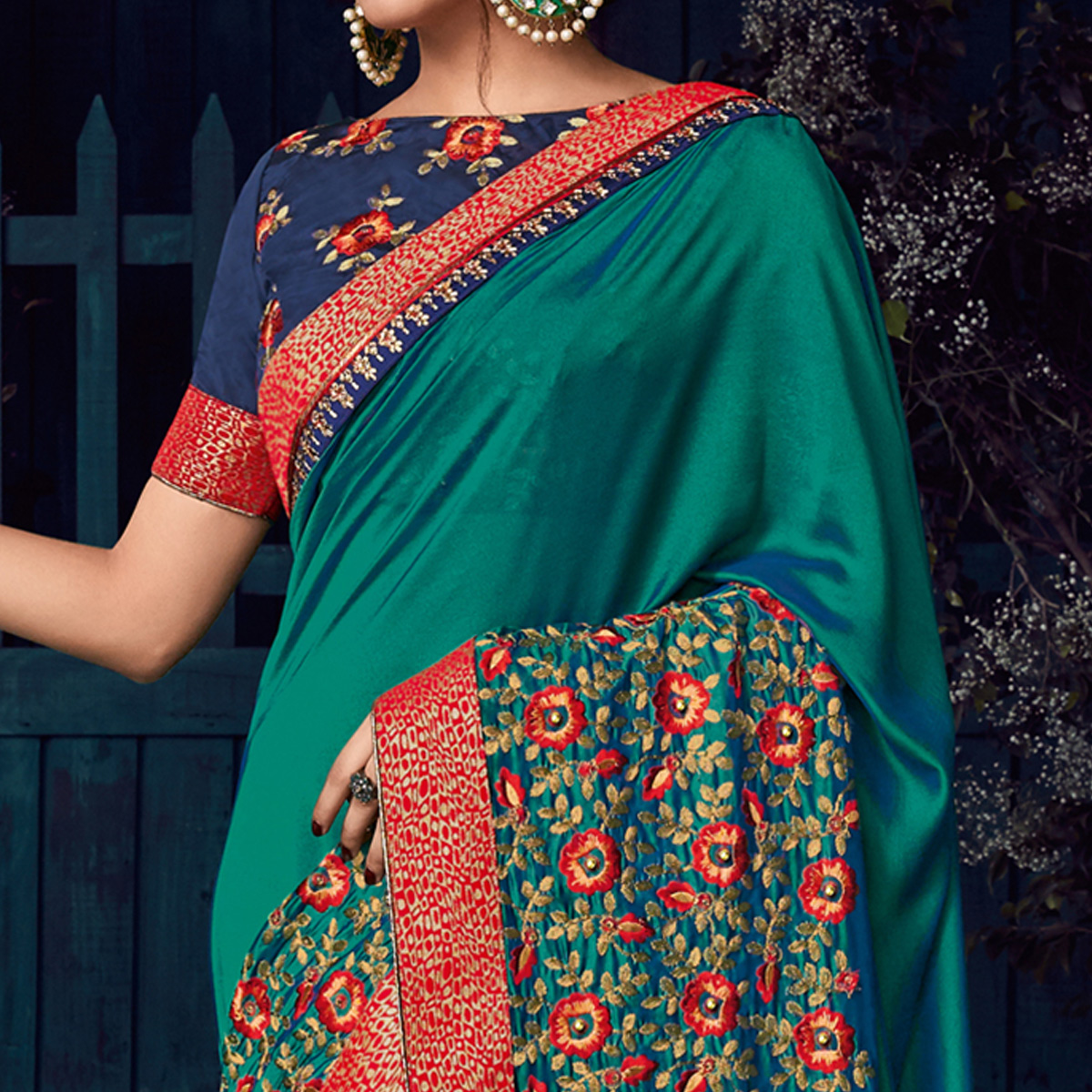 Teal Green Colored Party Wear Embroidered Raw Silk Saree