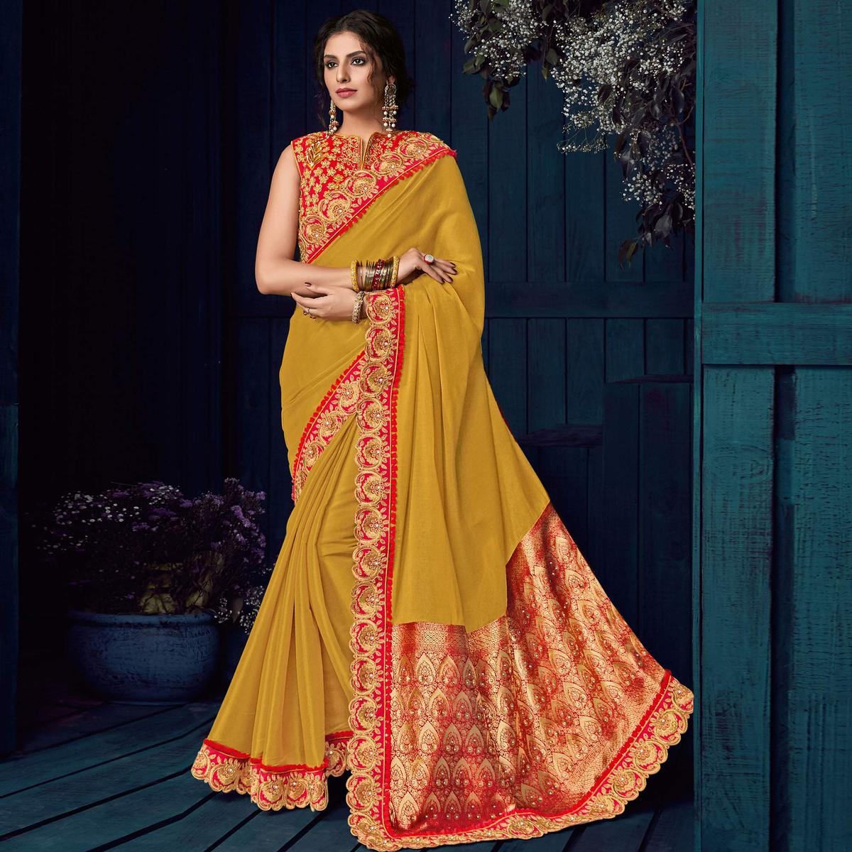 Mustard Yellow Colored Party Wear Embroidered Silk Saree