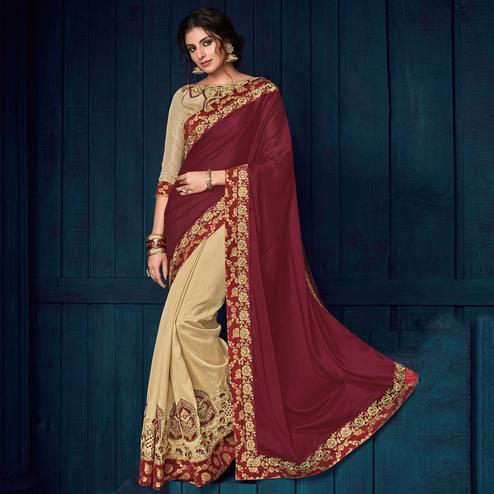Maroon And Beige Colored Party Wear Embroidered Georgette Saree