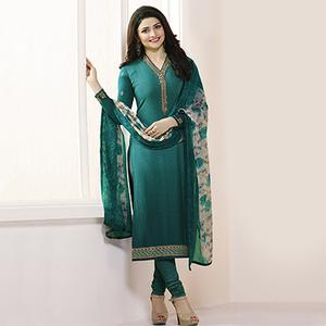 Rama Green Royal Crepe Designer Embroidered Partywear Salwar Suit