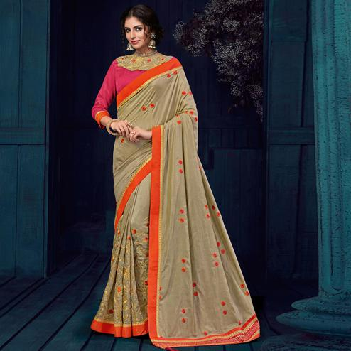 Beige Colored Party Wear Embroidered Raw Silk Saree